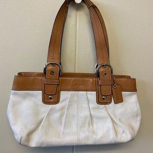 Coach Tan White Shoulder Bag B1075-F13732